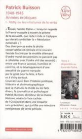 1940-1945 années érotiques t.1 ; Vichy ou les infortunes de la vertu - Couverture - Format classique