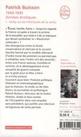 1940-1945 années érotiques t.1 ; Vichy ou les infortunes de la vertu - 4ème de couverture - Format classique