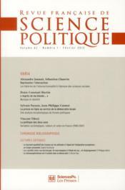 Revue Francaise De Science Politique N.62 - Couverture - Format classique
