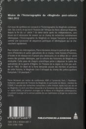 Misère de l¿historiographie du «Maghreb» post-colonial (1962-2012) - 4ème de couverture - Format classique