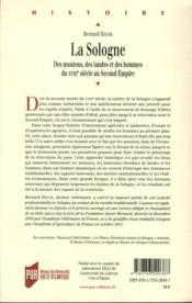 La Sologne ; des moutons, des landes et des hommes du XVIIIe siècle au Second Empire - 4ème de couverture - Format classique