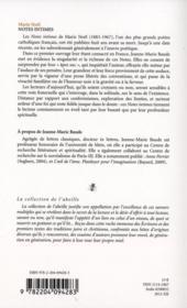 Notes intimes des marie noel - 4ème de couverture - Format classique