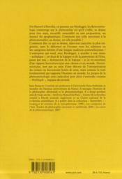 Archéo-logique ; Husserl, Heidegger, Patocka - 4ème de couverture - Format classique