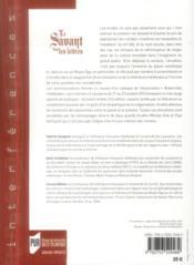 Le savant dans les lettres - 4ème de couverture - Format classique