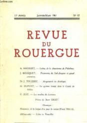 Revue Du Rouergue 15 E Annee Janvier Mars 1961 N°57. - Couverture - Format classique
