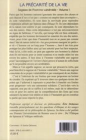 La précarité de la vie t.1 ; sagesse de l'homme vulnérable - 4ème de couverture - Format classique