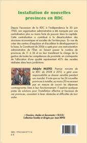 Installation de nouvelles provinces en RDC défis et contraintes - 4ème de couverture - Format classique