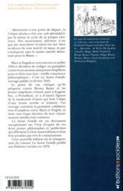 La sainte famille ; critique de la critique critique, contre Bruno Bauer et consorts - 4ème de couverture - Format classique