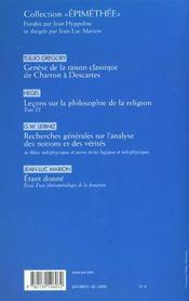 REVUE LES ETUDES PHILOSOPHIQUES n.2002/1 ; Duns Scot au XVII siècle t.1 ; l'objet et sa métaphysique - 4ème de couverture - Format classique