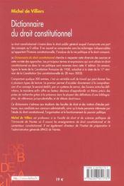 Dictionnaire du droit constitutionnel - 4ème de couverture - Format classique