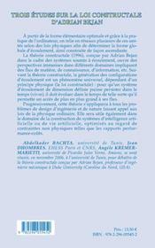 Trois etudes sur la loi constructale d'adrian bejan - 4ème de couverture - Format classique