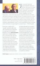 RENCONTRE AVEC ; Gaetano Benedetti ; l'expérience de la psychose - 4ème de couverture - Format classique
