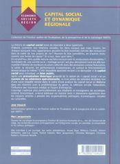 Capital social et dynamique regionale - 4ème de couverture - Format classique
