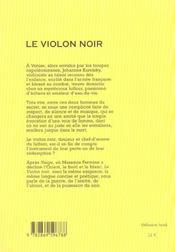Le violon noir - 4ème de couverture - Format classique