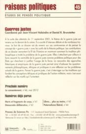 Revue Raisons Politiques N.45 ; Guerres Justes - 4ème de couverture - Format classique