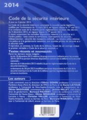 Code de la sécurité intérieure (édition 2014) - 4ème de couverture - Format classique