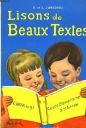 Lisons De Beaux Textes - Couverture - Format classique