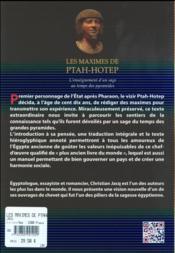 Les maximes de ptahhotep ; l'enseignement d'un sage au temps des pyramides - 4ème de couverture - Format classique