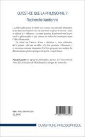 Qu'est-ce que la philosophie ? - recherche kantienne - 4ème de couverture - Format classique