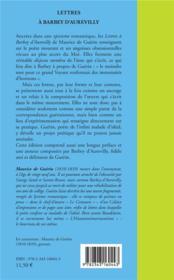 Lettres à Barbey d'Aurevilly - 4ème de couverture - Format classique