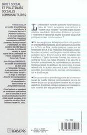 Droit Du Travail Communautaire - 4ème de couverture - Format classique