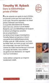 Dans la bibliothèque privée d'Hitler (édition 2010) - 4ème de couverture - Format classique