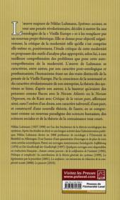Les Systemes Sociaux : Esquisse D'Une Theorie Generale - 4ème de couverture - Format classique