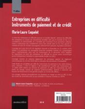 Entreprises en difficulté ; instruments de paiement et de crédit (4e édition) - 4ème de couverture - Format classique
