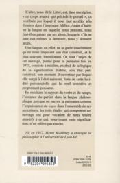 Aitres De La Langue Et Demeures De La Pensee - 4ème de couverture - Format classique