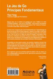 Le jeu de go, principes fondamentaux - 4ème de couverture - Format classique