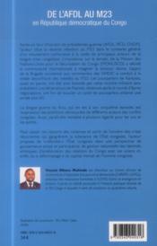 De l'AFDL au M23 en République démocratique du Congo - 4ème de couverture - Format classique