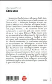 Petite vie de Edith Stein - 4ème de couverture - Format classique