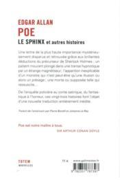Le sphinx ; et autres histoires - 4ème de couverture - Format classique