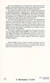 Parlons Roumain Langue Et Culture - 4ème de couverture - Format classique