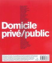 Domicile Prive Public - 4ème de couverture - Format classique