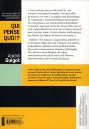 Qui pense quoi ? ; inventaire subjectif des grands penseurs contemporains - 4ème de couverture - Format classique