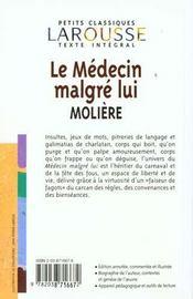 Le Medecin malgre lui, texte integral - 4ème de couverture - Format classique