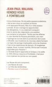 Les noces de soie t.3 ; rendez-vous à Fontbelair - 4ème de couverture - Format classique