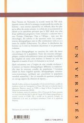 Geographie Mondiale De La Population - 4ème de couverture - Format classique