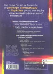 Psychologie de la memoire - 4ème de couverture - Format classique