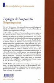 Paysages de l'impossible ; clinique des psychoses - 4ème de couverture - Format classique