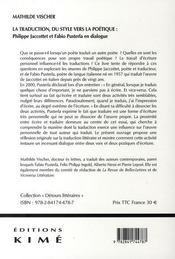 La traduction, du style vers la poétique ; Philippe Jacottet et Fabio Pusterla en dialogue - 4ème de couverture - Format classique