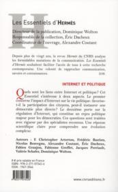Internet et politique - 4ème de couverture - Format classique