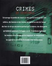 Crimes et criminels - 4ème de couverture - Format classique