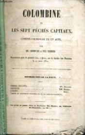 Colombine Ou Les Sept Peches Capitaux Comedie Vaudeville En Un Acte. - Couverture - Format classique
