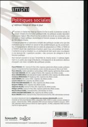 Politiques sociales (4e édition) - 4ème de couverture - Format classique