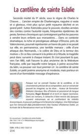 La cantilène de sainte Eulalie - 4ème de couverture - Format classique