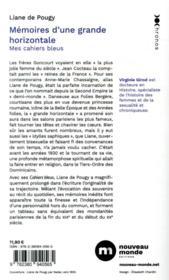 Mémoires d'une grande horizontale ; mes cahiers bleus - 4ème de couverture - Format classique
