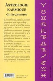 L'Astrologie Karmique ; Guide Pratique - 4ème de couverture - Format classique