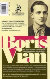 Boris Vian ; j'avais vingt ans en 1940 - 4ème de couverture - Format classique